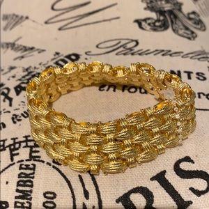 Italian 18K Yellow Gold-plated SS Woven Bracelet